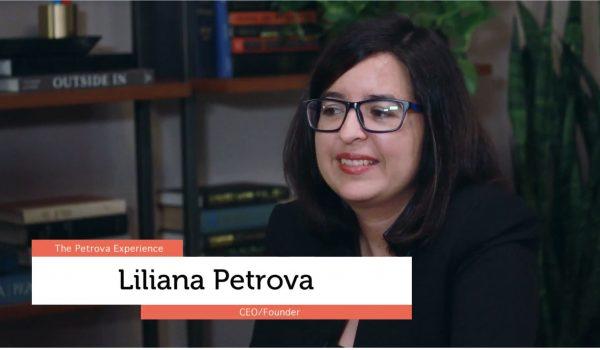 Liliana Petrova speaks in front of a camera